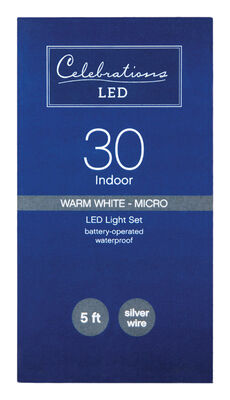 Celebrations LED Battery Operated Micro Wire Light Set Warm White 5 ft. 30 lights