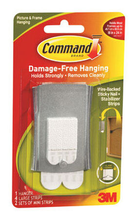 3M Command Jumbo Metal Universal Picture Hanger 1 pk 8 lb. 3 in. L