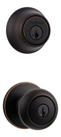 Kwikset Venetian Bronze Knob and Single Cylinder Deadbolt 1-3/4 in. Cove Left Handed Right Hand