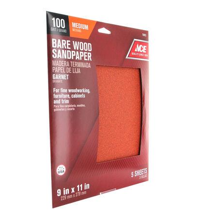 Ace 11 in. L x 9 in. W 100 Grit Aluminum Oxide Sandpaper 5 pk