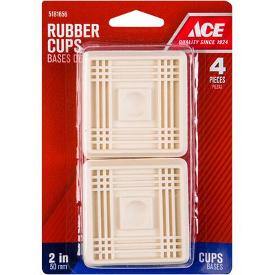 Ace Rubber Square Caster Cup White 2 in. W x 2 in. L 4 pk