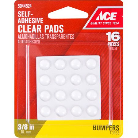 Ace Vinyl Round Protective Pads Clear 3/8 in. W 16 pk