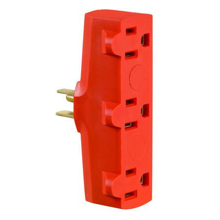 Leviton Polarized 3 Outlet Grounding Adapter Orange 15 amps 125 volts 1 pk