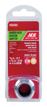 Ace Garden Hose Aerator Adapter 55/64in. -27F x 3/4in. GHTM Chrome