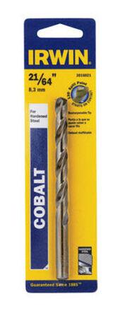 Irwin Cobalt High Speed Steel Straight 21/64 in. Dia. x 4-5/8 in. L Drill Bit