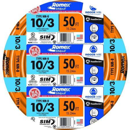 Southwire 50 ft. 10/3 Romex Type NM-B WG Non-Metallic Wire Orange