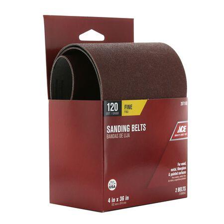 Ace Sanding Belt 4 in. W x 36 in. L 120 Grit Fine 2 pk
