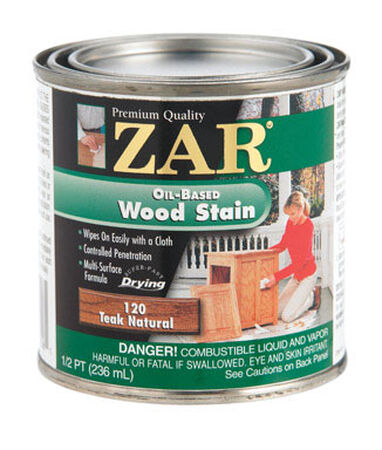ZAR Semi-Transparent Oil-Based Wood Stain Teak Natural Tintable 1/2 pt.