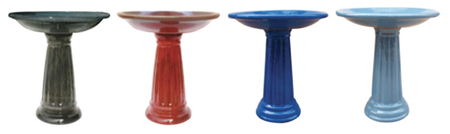 "Ceramic Assorted Colors 24"" Roman Bird Bath"