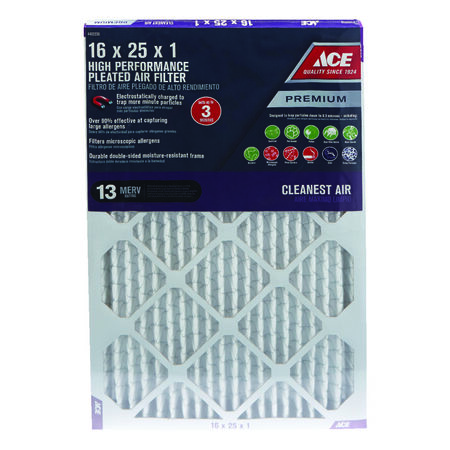 Ace 25 in. L x 16 in. W x 1 in. D Pleated Air Filter 13 MERV