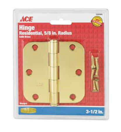 Ace Solid Brass Residential Hinge 3-1/2 in. L Solid Brass 1 pk