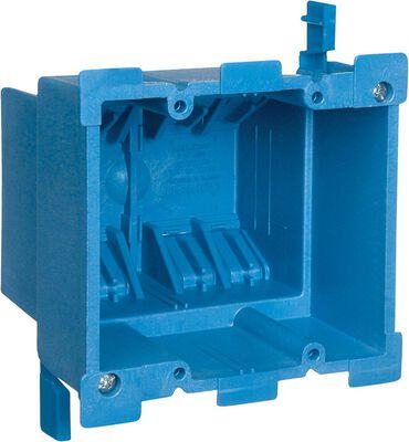 Carlon 3-5/8 in. H Square 2 Gang Outlet Box Blue PVC