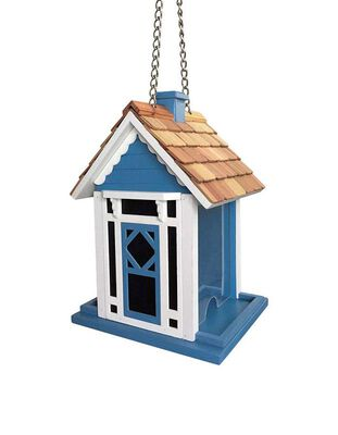 Home Bazaar Songbird 1.8 lb. Wood Hanging Hopper Bird Feeder 2 ports
