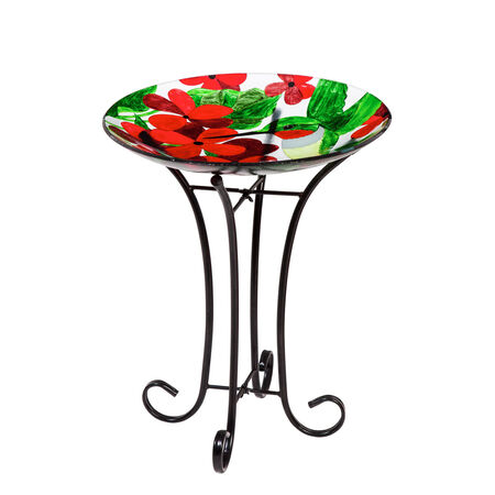 "16"" Glass Birdbath w/stand hummingbird"