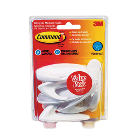 3M Command Medium Designer Hook 3-1/8 in. L Plastic 3 lb. per Hook 6 pk