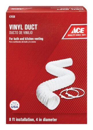 Ace 4 in. Dia. x 8 ft. L Vent Duct White