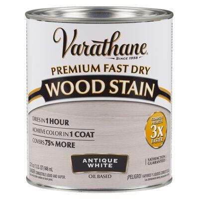 Varathane Premium Fast Dry Semi-Transparent Oil-Based Wood Stain Antique White 1 qt.