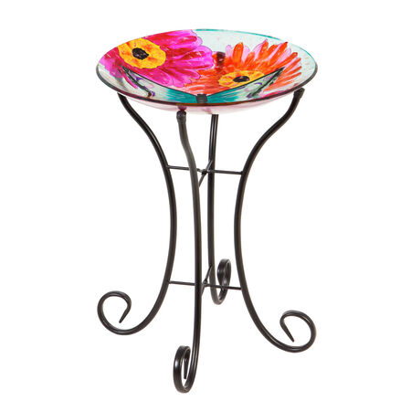 "16"" glass birdbath w/stand butterfly in sunflowers"