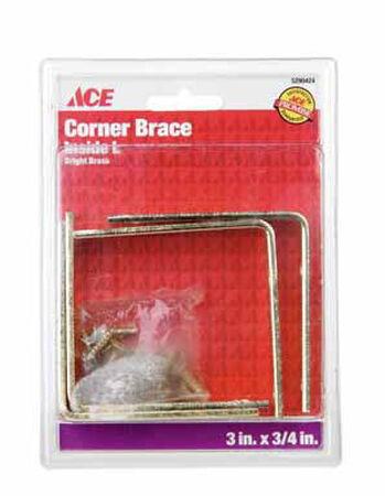 Ace Inside L Corner Brace 3 in. x 3/4 in. Brass