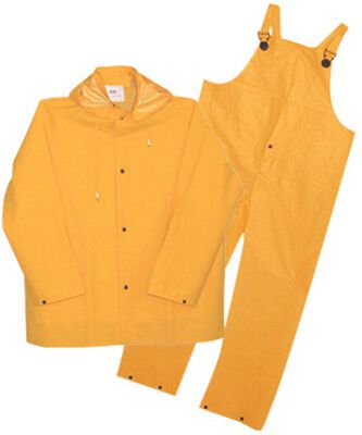 Boss Yellow PVC-Coated Polyester Three Piece Rain Suit Large