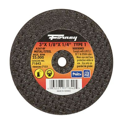 Forney 3 in. Dia. x 1/8 in. thick x 1/4 in. Metal Cut-Off Wheel