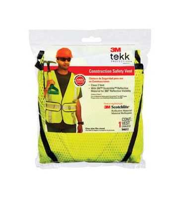 3M One fits all Yellow Polyester mesh Safety Vest with Reflective Stripe
