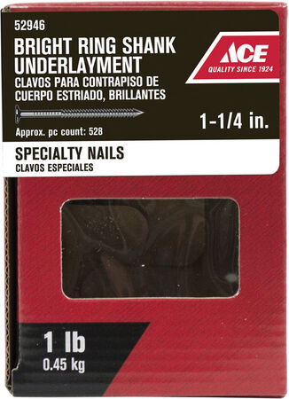 Ace Round 1-1/4 in. L Underlayment Nail Annular Ring Shank Bright Steel 1 lb.