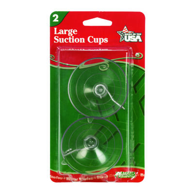 Adams Large Suction Cup Hooks Clear Rubber 2 pk