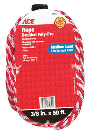 Ace 3/8 in. Dia. x 50 ft. L Solid Braided Poly Derby Rope Red