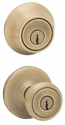 Kwikset Tylo Antique Brass Entry Lock and Single Cylinder Deadbolt 1-3/4 in. 3 Grade Left Handed