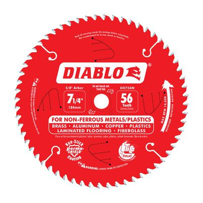 Diablo 7-1/4 in. Dia. x 5/8 in. x 0.04 in. thick Carbide Tip Titanium Circular Saw Blade 56 tee