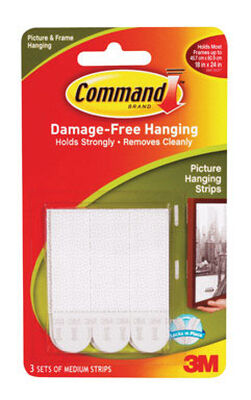 3M Command Medium Picture Hanging Foam Adhesive Strips 6 pk 3 lb. per Set 2-3/4 in. L