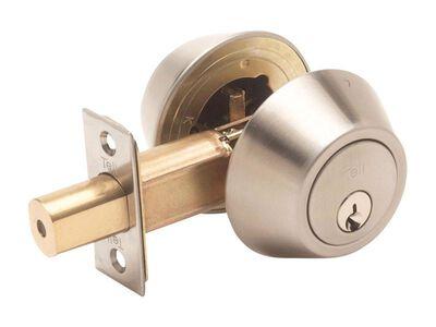 Tell Satin Nickel Deadbolt Lock 1-3/4 in.