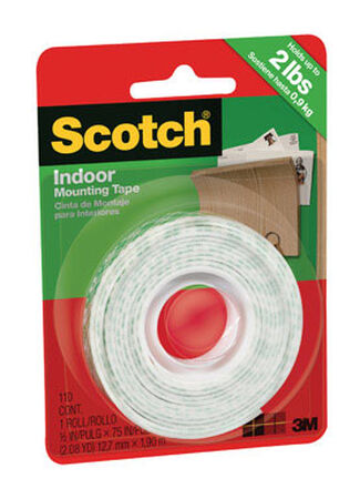 Scotch 1/2 in. W x 75 in. L Mounting Tape White