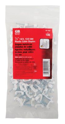 GB 1/2 in. W Zinc-plated Plastic Insulated Plastic Staple 100 bag
