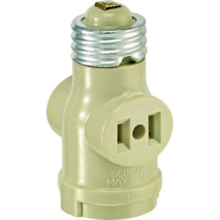 Leviton 660 watts 125 volts Keyless Lampholder with Outlets Ivory