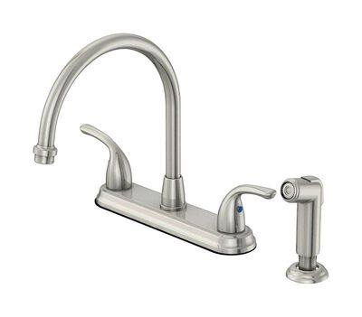 OakBrook Washerless Cartridge Two Handle Chrome Kitchen Faucet Side Sprayer Included