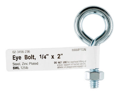 Hampton Zinc Plated Steel 2 in. L Eyebolt