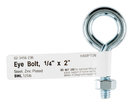 Hampton Zinc Plated Steel 2 in. L Eyebolt