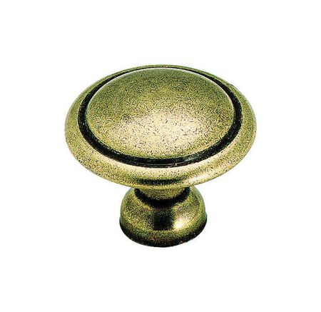 Amerock Allison Round Furniture Knob 1-3/8 in. Dia. 1-1/8 in. Burnished Brass 1 pk