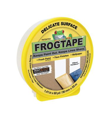 FrogTape 1.41 in. W x 60 yd. L Delicate Surface Painter's Tape Low Strength Yellow 1 pk