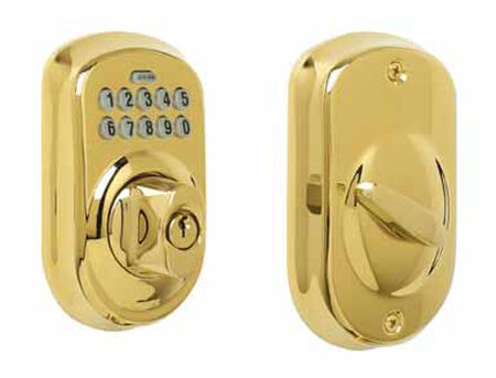 Schlage Bright Brass Electronic Deadbolt 1-3/4 in. For Most Standard Doors