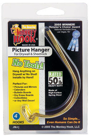 Monkey Hook 20 lb. Steel Monkey Picture Hanger 4 pk