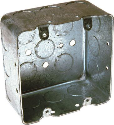 Raco 4 in. H Square 2 Gang Junction Box 1/2 in. Gray Steel
