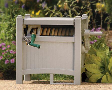 Suncast Slide Trak Hose Hideaway Stationary Hose Cabinet 100 ft. Taupe