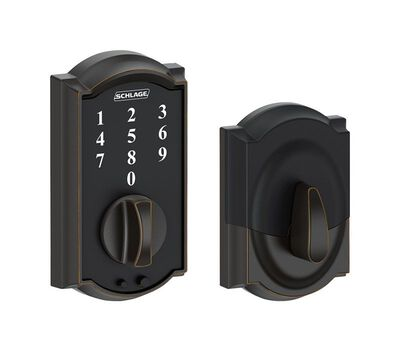 Schlage Aged Bronze Touch Screen Deadbolt Steel For Interior and Exterior Doors Grade 2 1-3/4 i