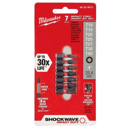 Milwaukee SHOCKWAVE Torx 1 in. L Impact Duty Insert Bit Set Alloy Steel 7 pc.