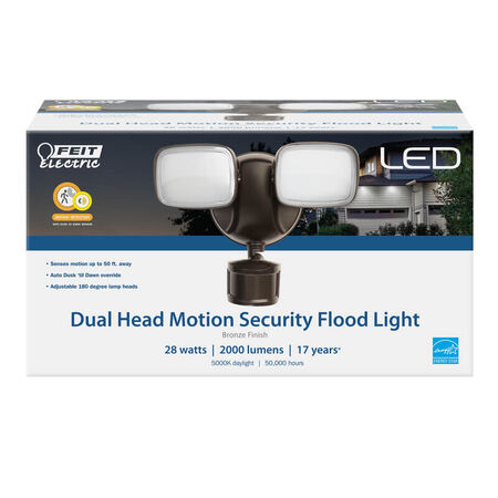 Feit Electric Motion-Sensing Hardwired LED Bronze Security Floodlight