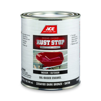 Ace Interior/Exterior Rust Stop Oil-based Enamel Paint Dark Bronze Satin 1 qt.