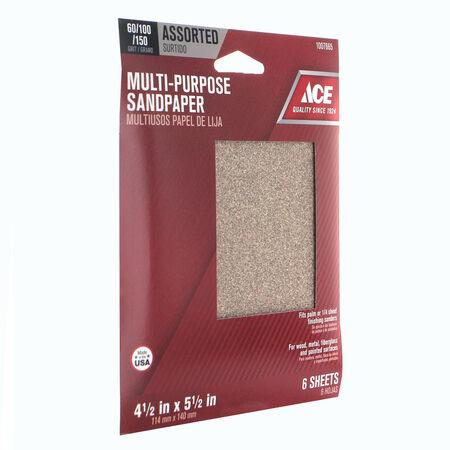 Ace 5.5 in. L x 4.5 in. W Assorted Grit Aluminum Oxide Sanding Sheet 6 pk